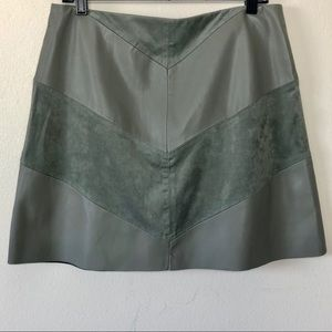 Zara Chevron Green Leather Suede Skirt Vegan Large